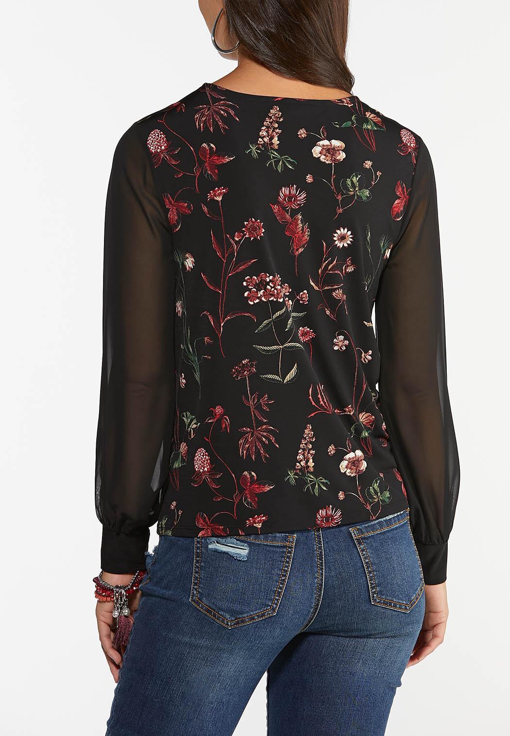 Plus Size Floral Sheer Sleeve Top (Item #44395878)