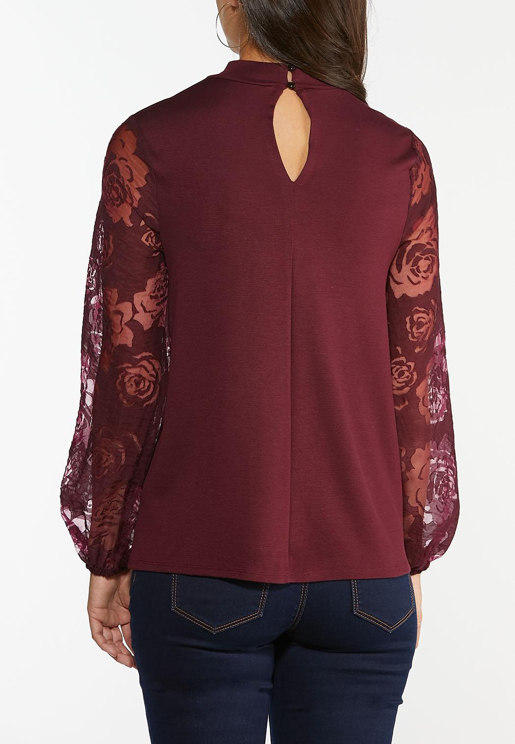 Plus Size Lace Sleeve Mock Neck Top (Item #44396022)