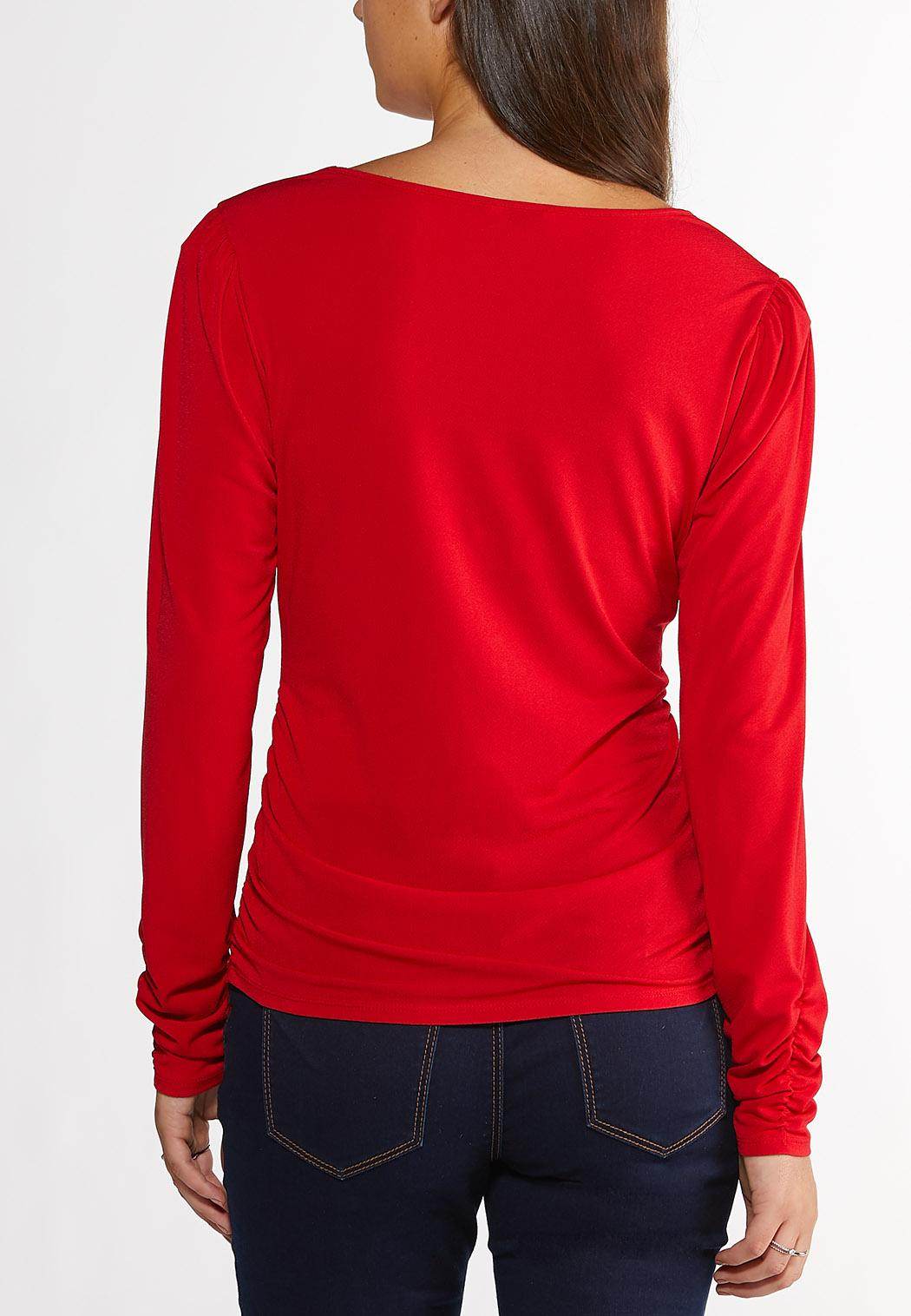 Plus Size Ruched Puff Sleeve Top (Item #44396116)