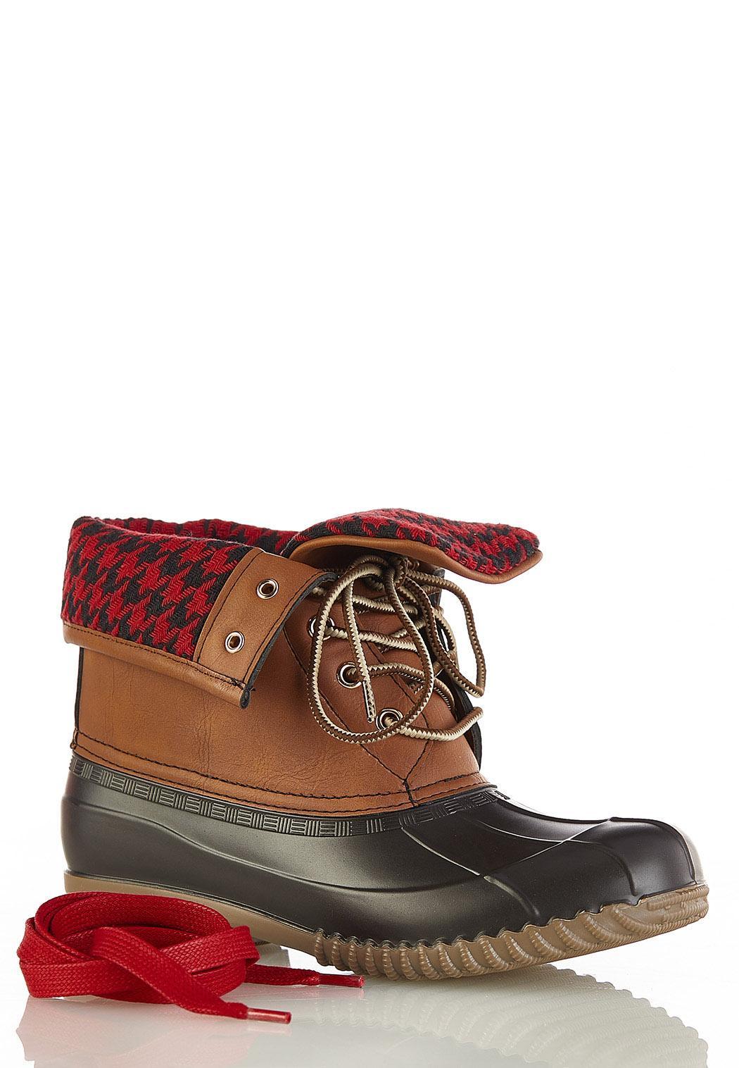 Buffalo Plaid Cuff Duck Boots (Item #44396171)