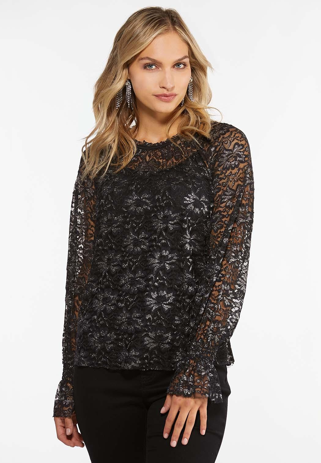 Plus Size Metallic Lace Top (Item #44396416)