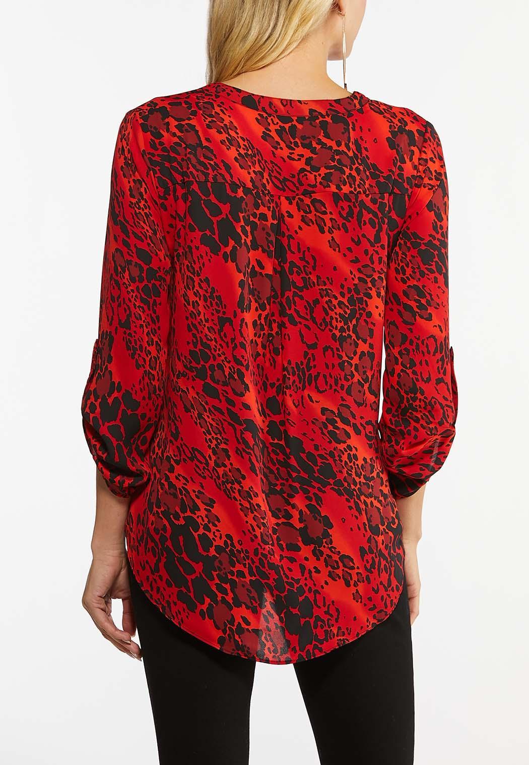 Plus Size Red Animal Print Top (Item #44396786)