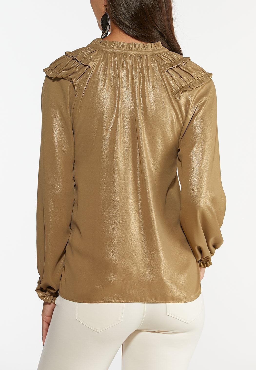 Gold Metallic Ruffle Top (Item #44396813)