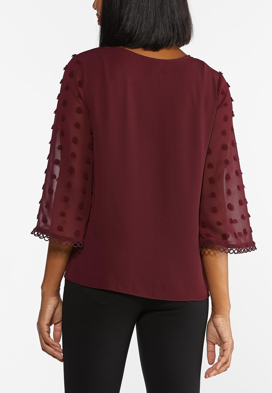 Plus Size Dotted Bell Sleeve Top (Item #44396845)