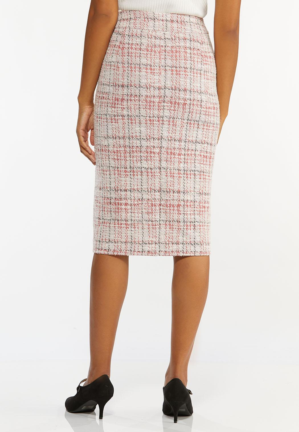 Plus Size Red Boucle Pencil Skirt (Item #44396979)