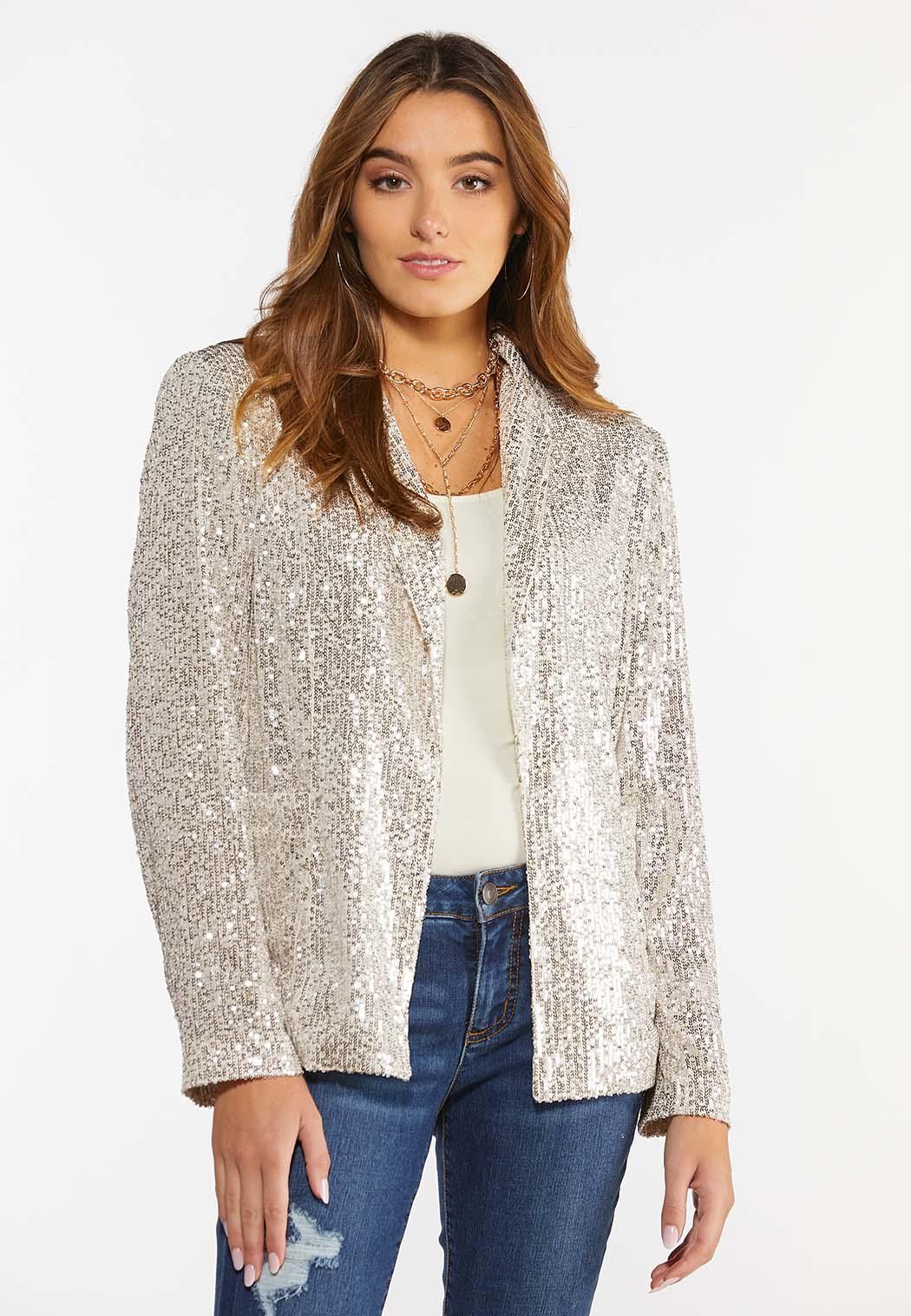 Plus Size Champagne Sequin Jacket (Item #44396987)