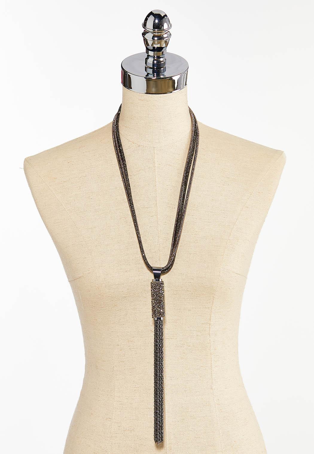 Rock Glitter Tassel Necklace (Item #44397486)