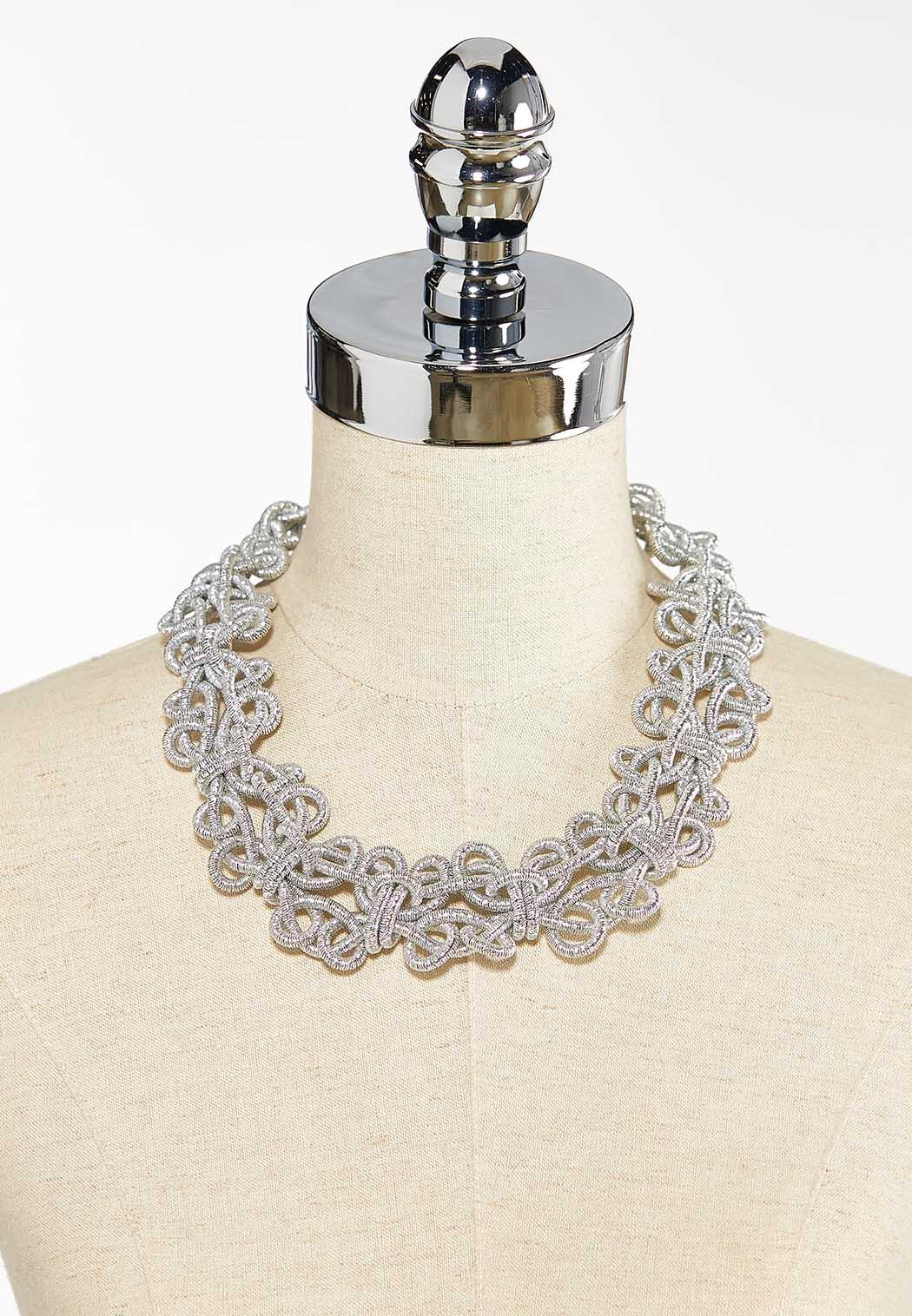 Twisted Silver Metal Necklace (Item #44397488)
