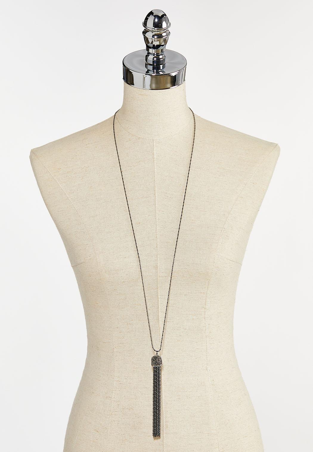 Hematite Long Tassel Necklace (Item #44397497)