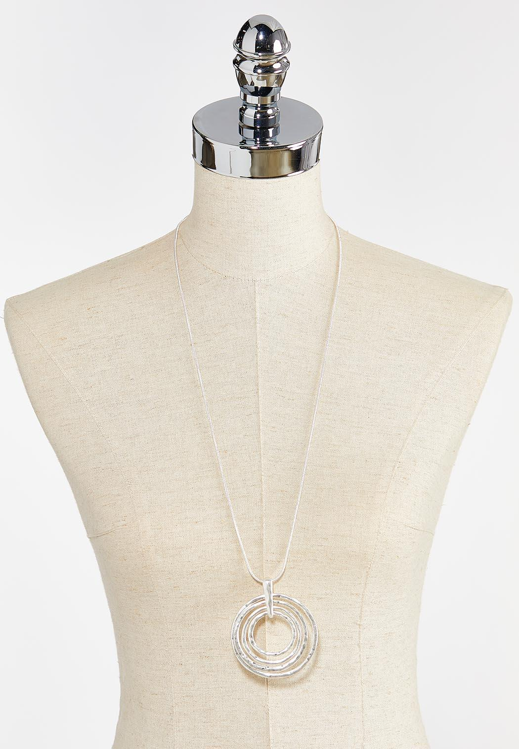 Silver Multi Ring Pendant Necklace (Item #44397547)