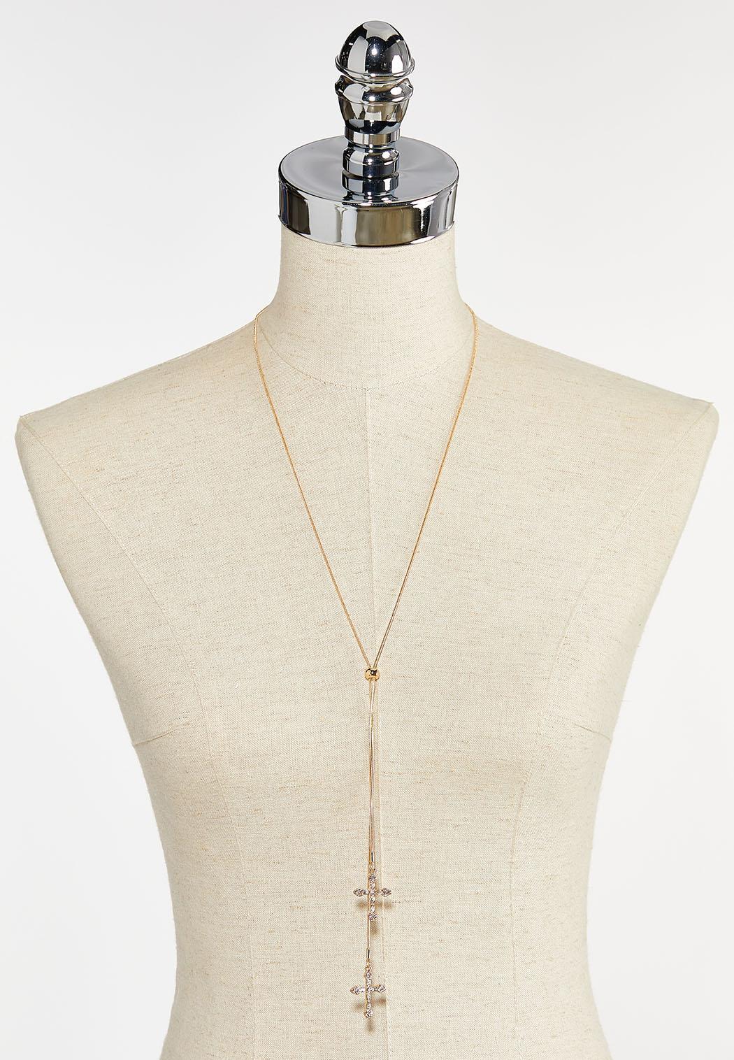 Delicate Cross Lariat Necklace (Item #44397614)