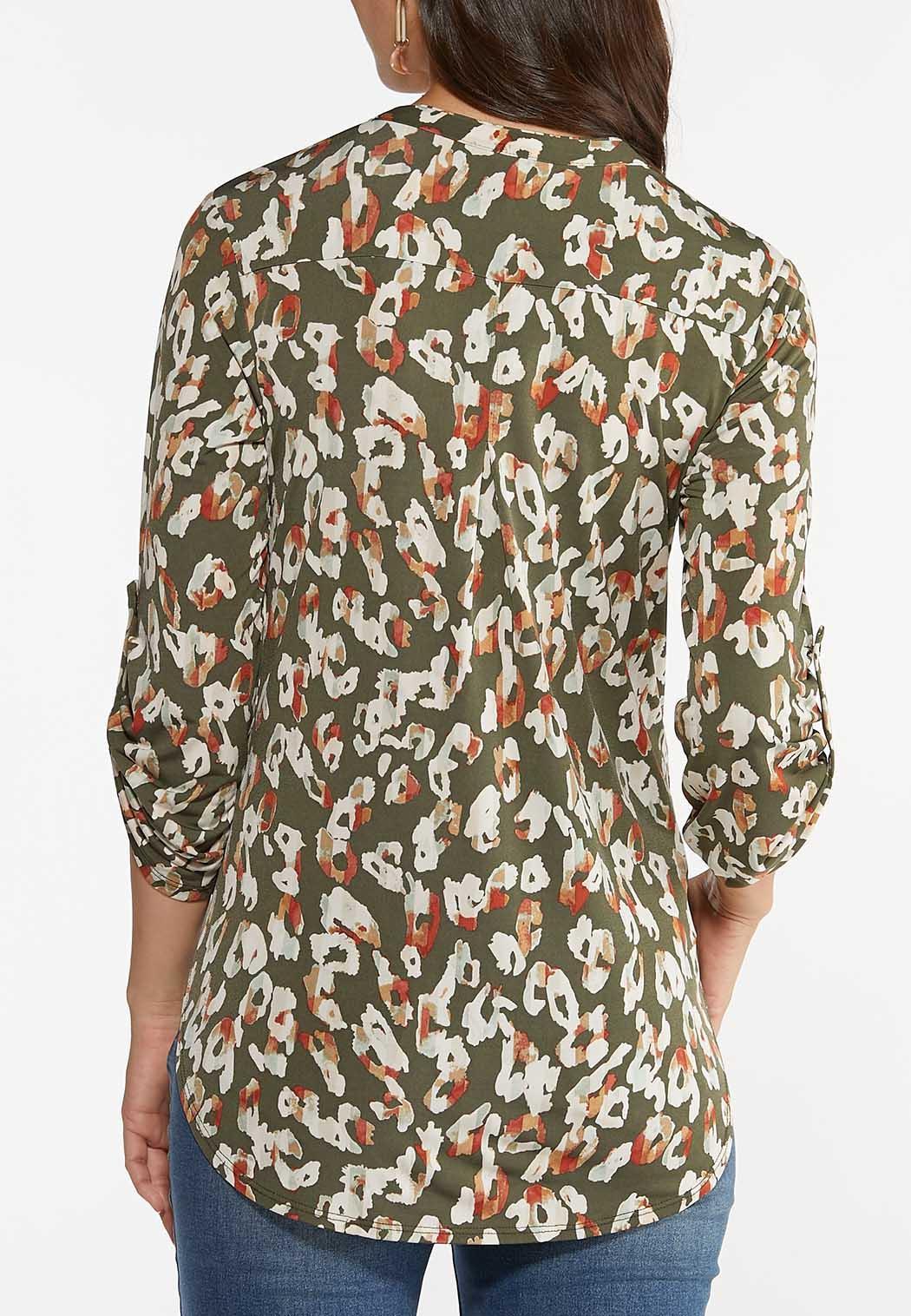 Olive Leopard Pullover Top (Item #44398150)