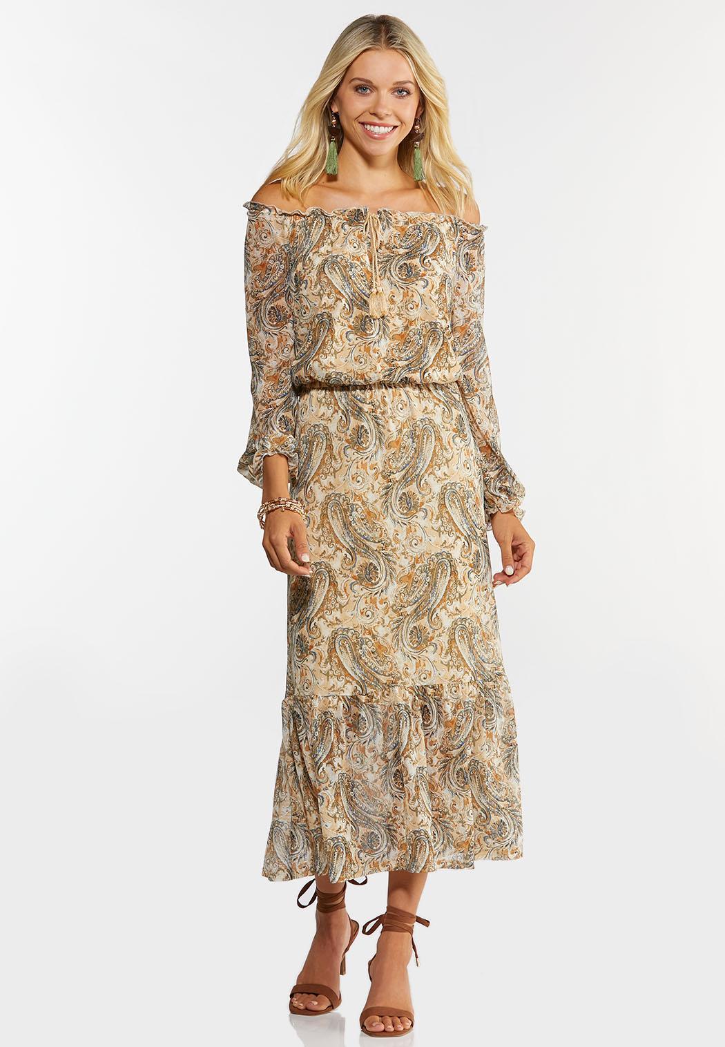 Plus Size Mesh Paisley Midi Dress (Item #44399813)