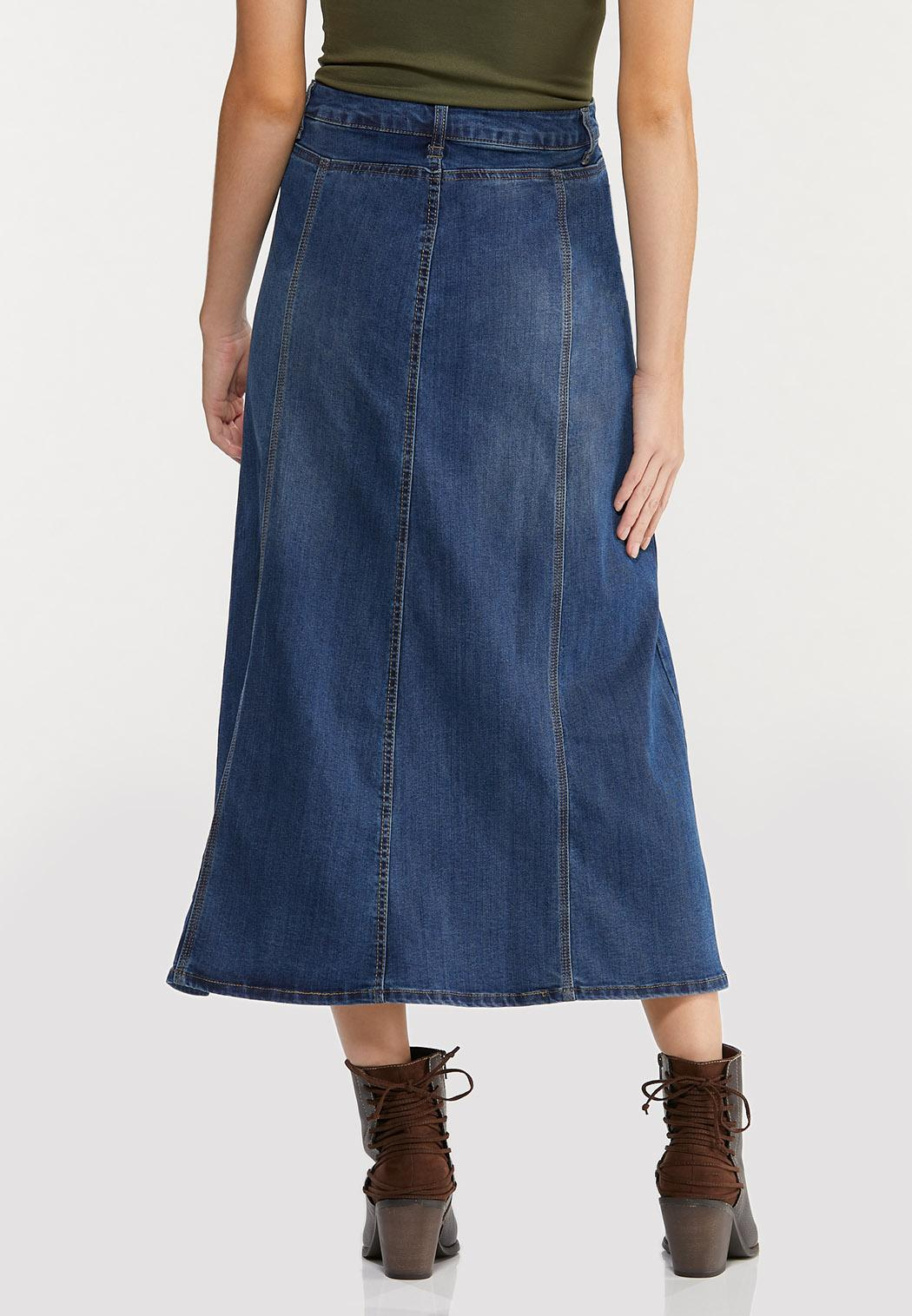 Plus Size Seamed Panel Denim Skirt (Item #44399972)
