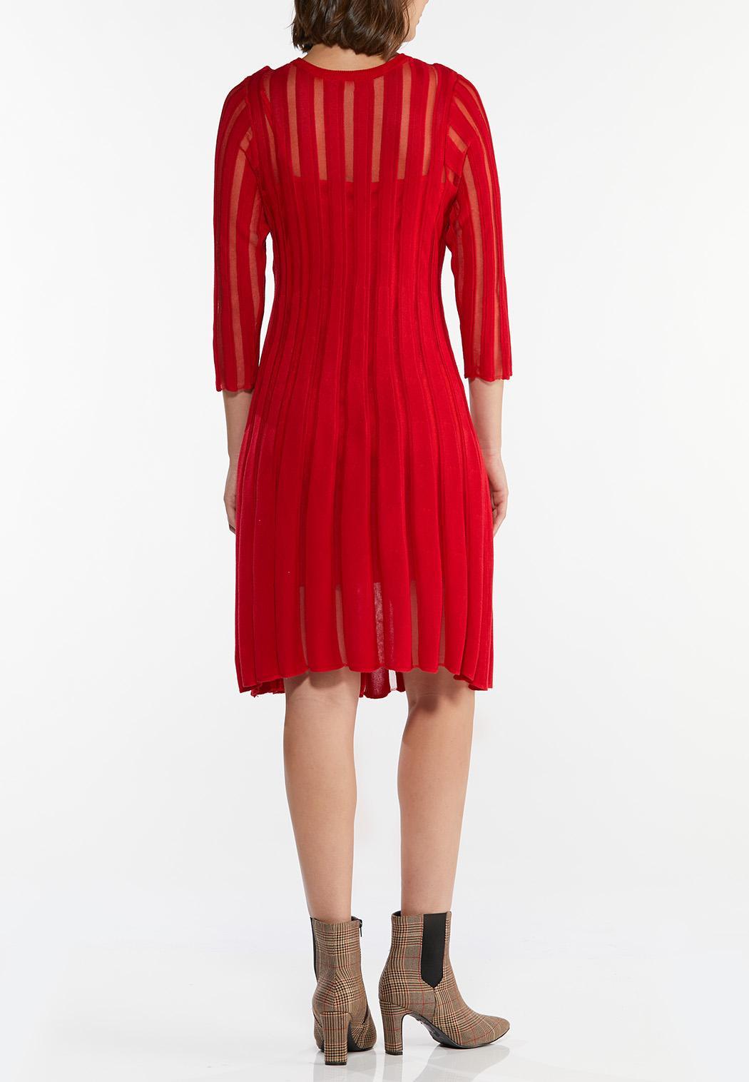 Plus Size Illusion Stripe Sweater Dress (Item #44401583)
