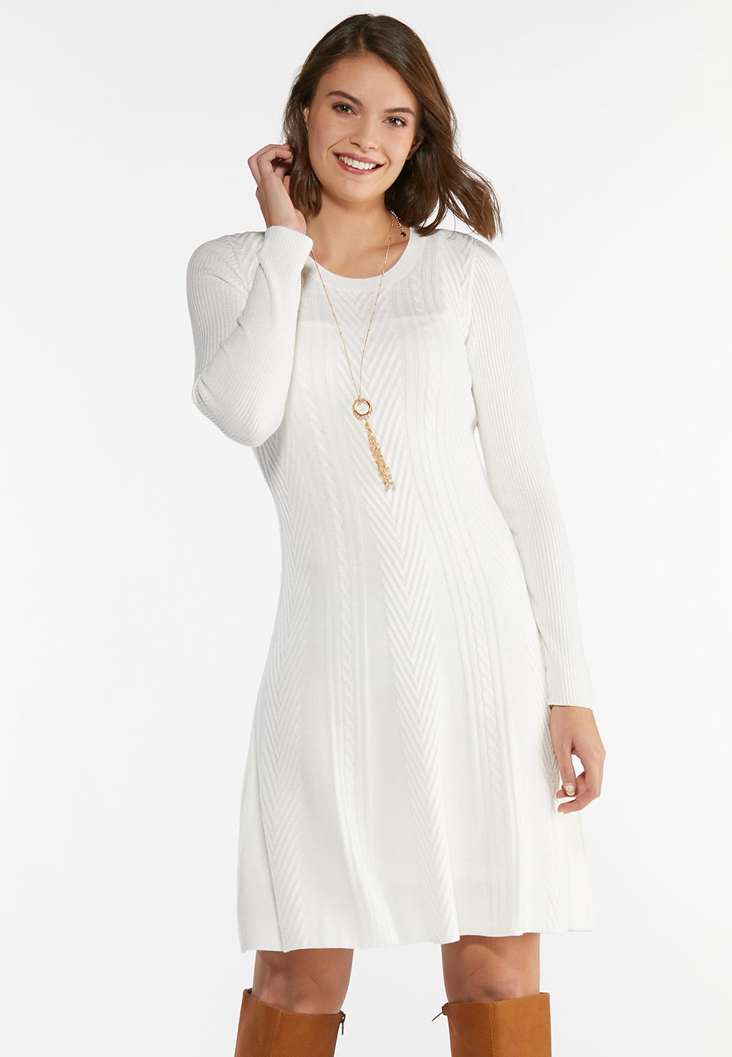 Plus Size Ivory Knit Sweater Dress (Item #44401608)