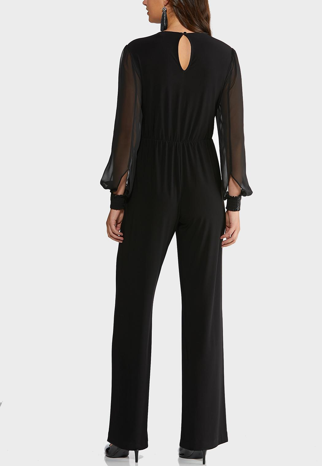Petite Dressy Sheer Sleeve Jumpsuit (Item #44402286)