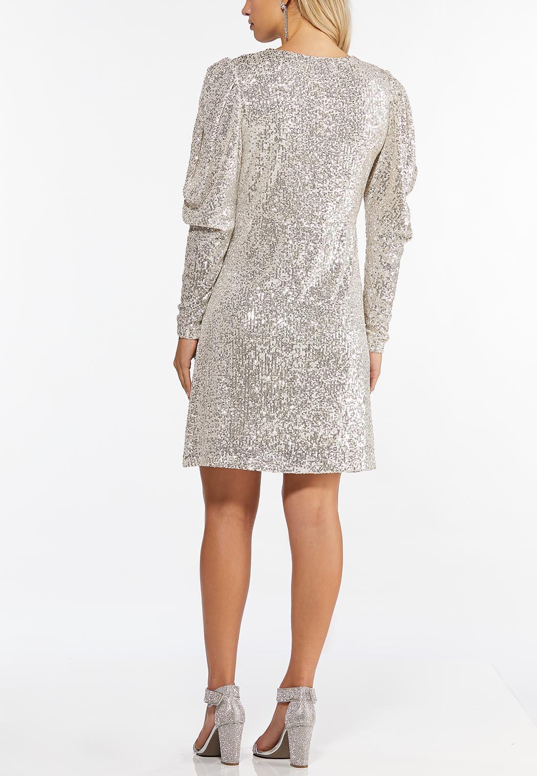 Plus Size Sequin Puff Sleeve Dress (Item #44402520)