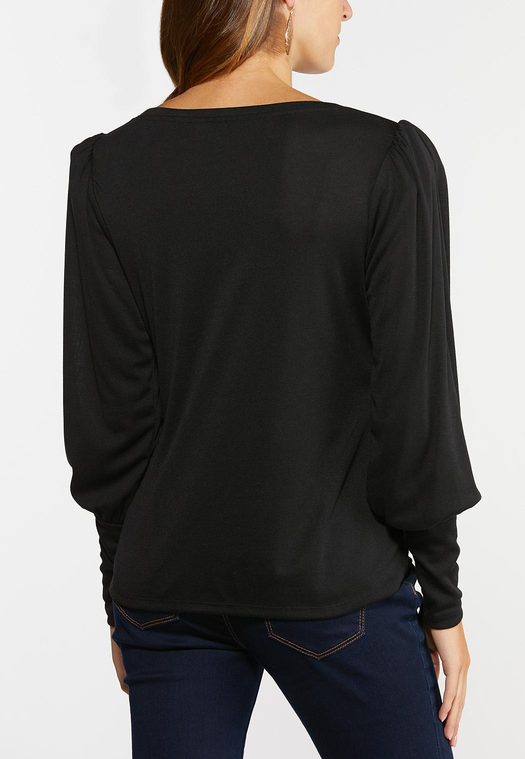 Plus Size Solid Puff Sleeve Top (Item #44402963)