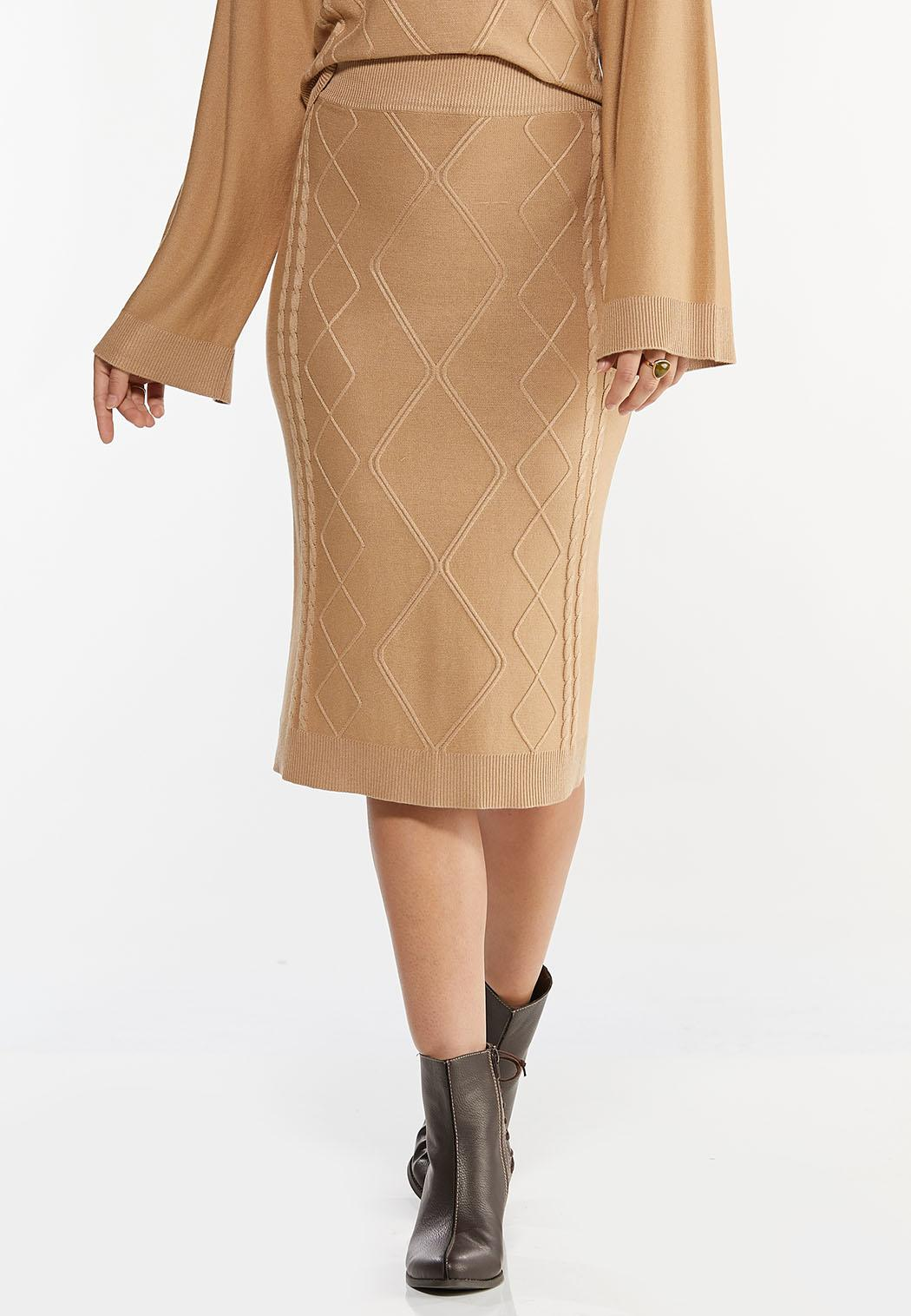 Caramel Cable Knit Skirt (Item #44403101)