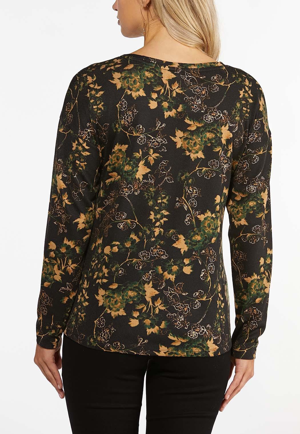 Plus Size Foiled Floral Hacci Top (Item #44403136)