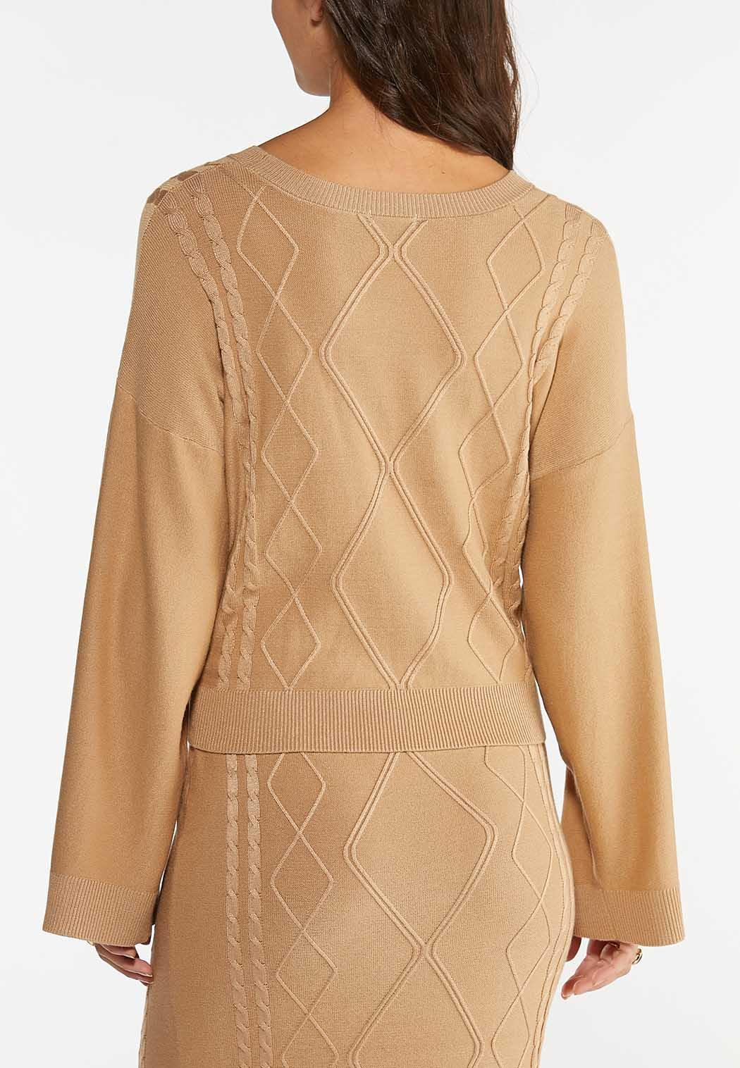 Plus Size Caramel Cable Knit Sweater (Item #44404254)
