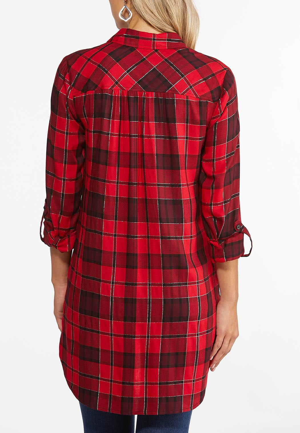 Plus Size Twinkle Red Plaid Tunic (Item #44404542)