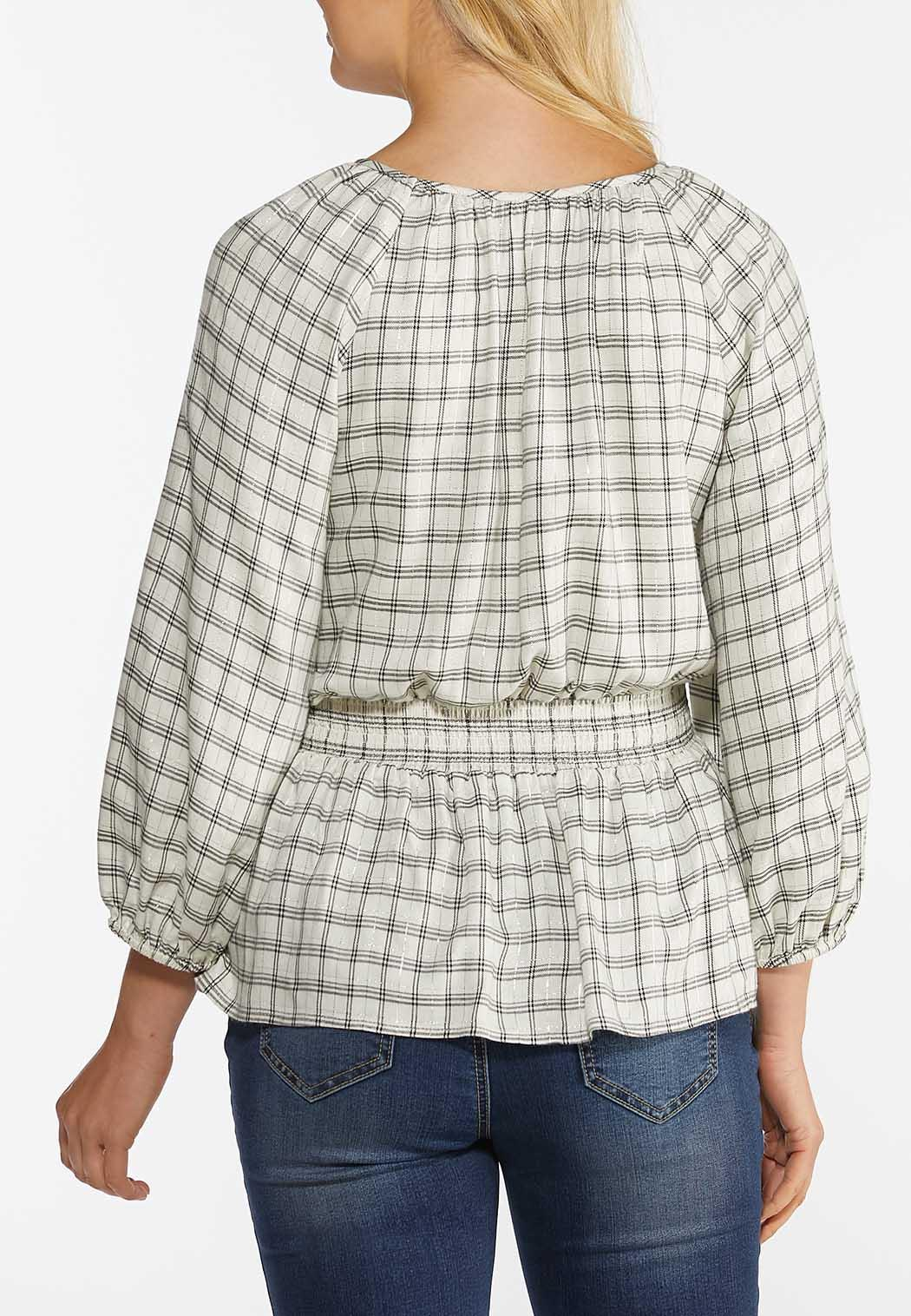 Plus Size Shimmery Smocked Plaid Top (Item #44404608)