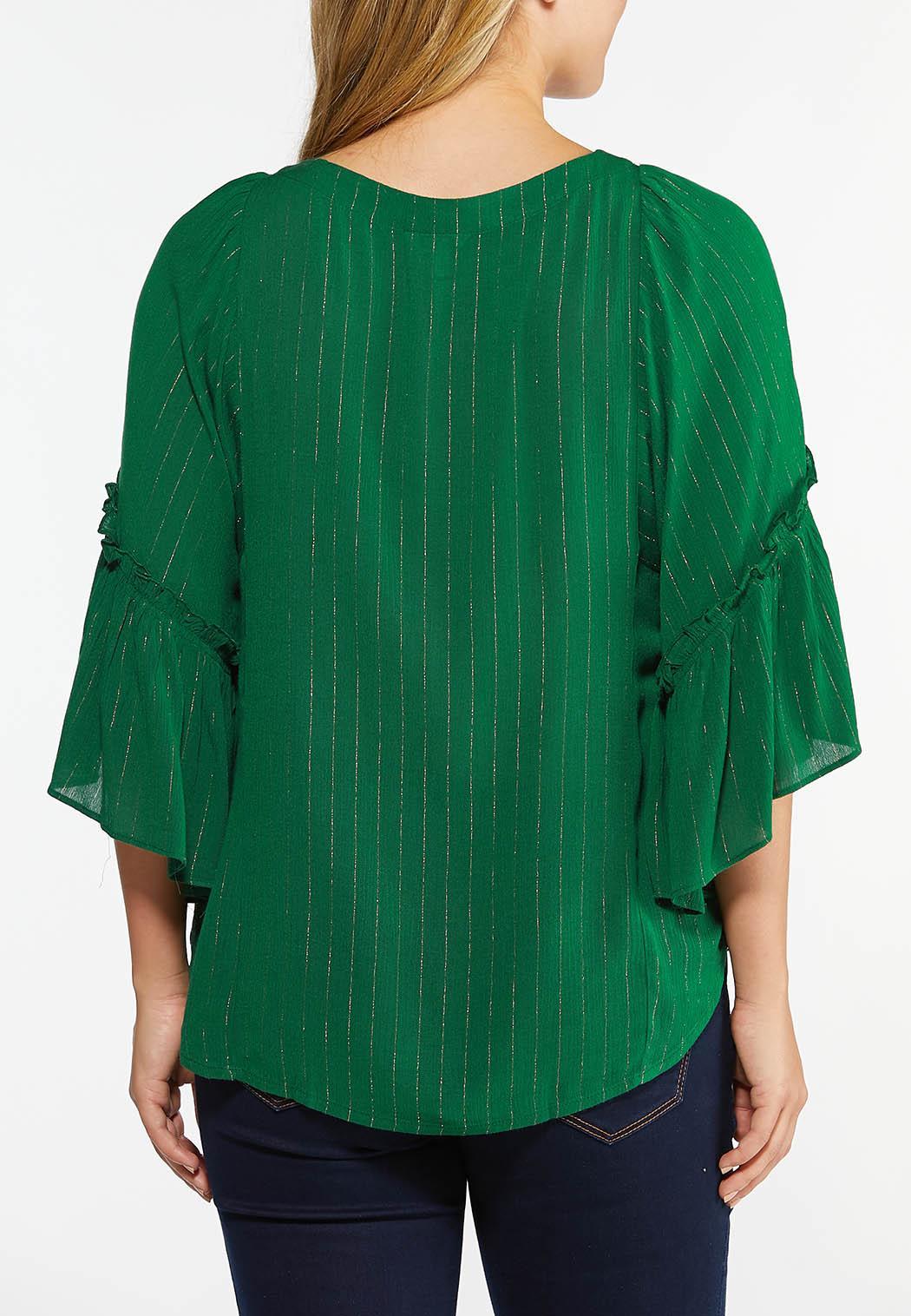 Plus Size Green Shimmer Stripe Top (Item #44404675)