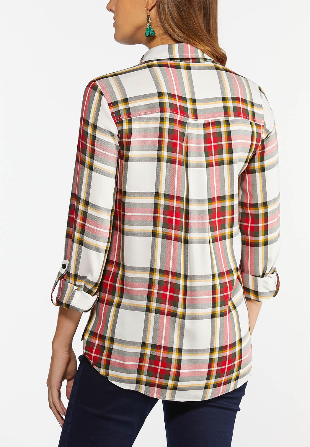 Plus Size Holiday Plaid Shirt (Item #44404750)
