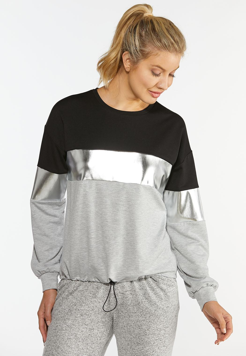 Plus Size Metallic Colorblock Sweatshirt (Item #44405063)