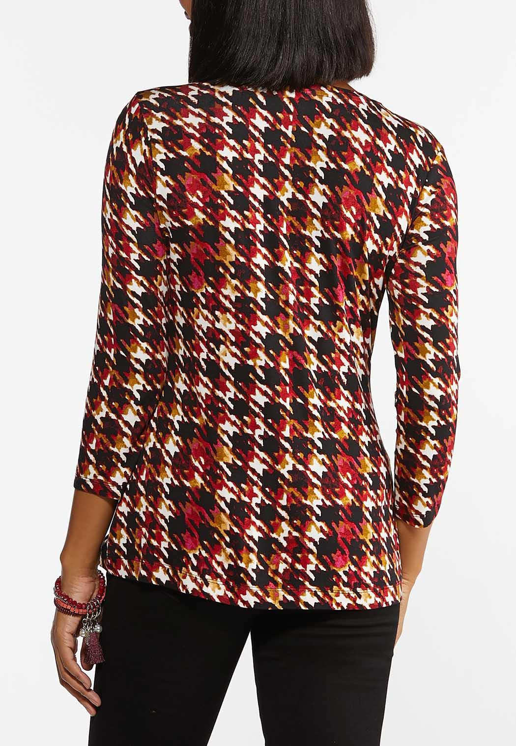 Plus Size Merlot Houndstooth Top (Item #44405084)