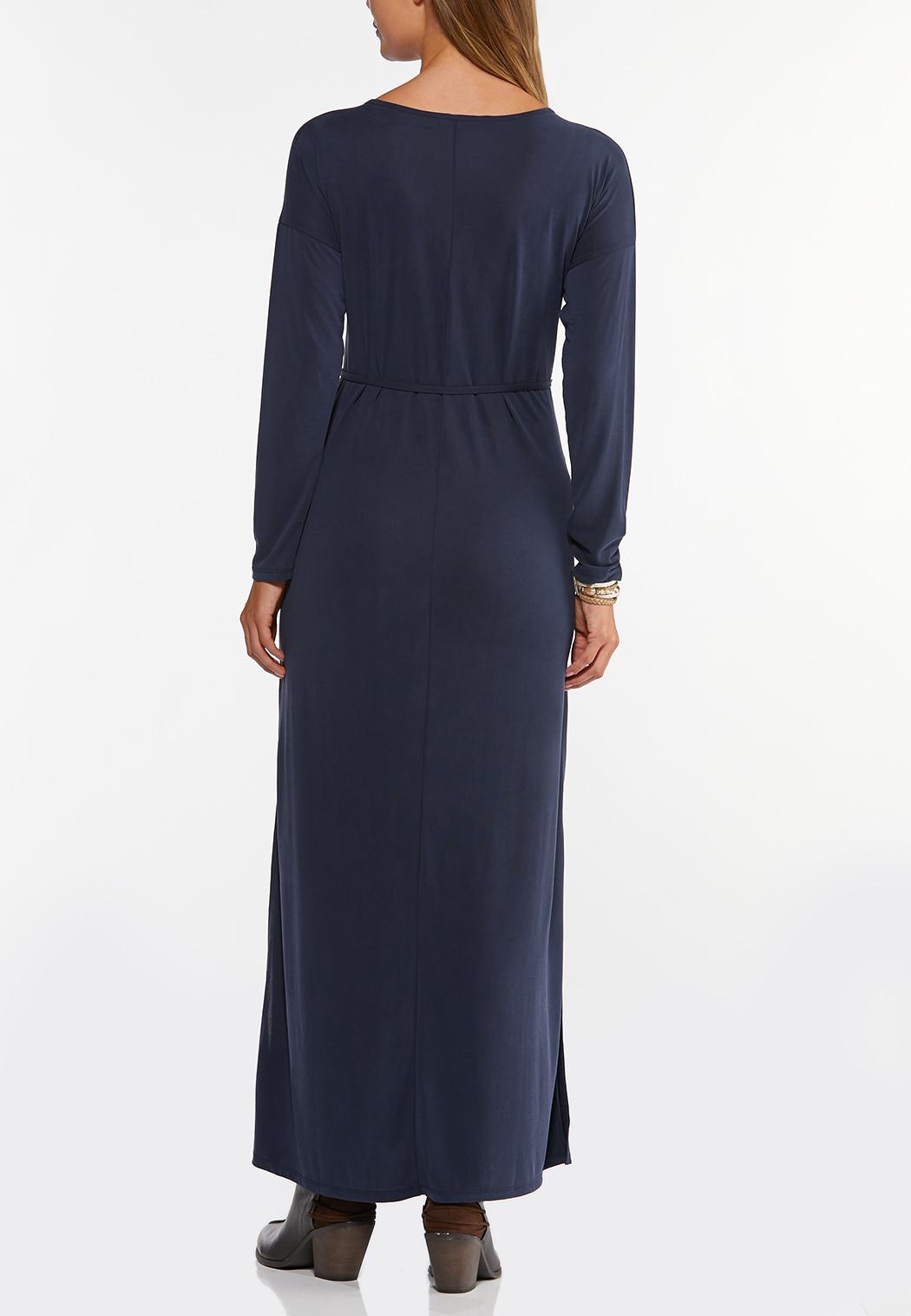 Navy Belted Waist Maxi Dress (Item #44405275)