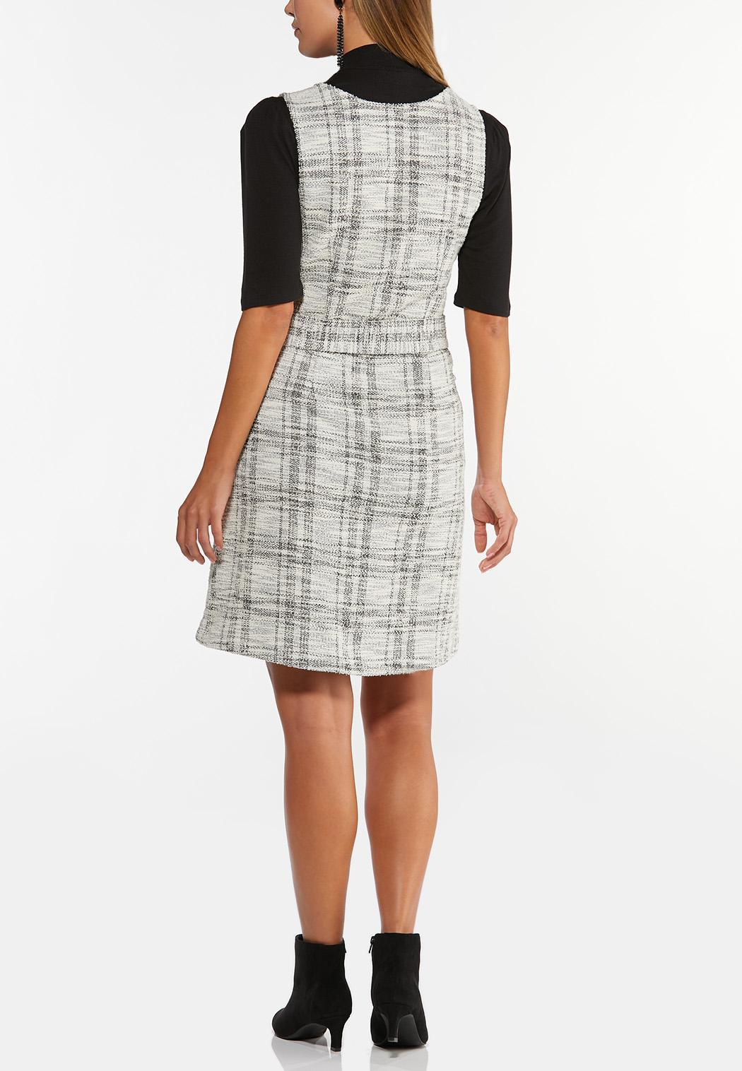 Belted Boucle Jumper Dress (Item #44405424)