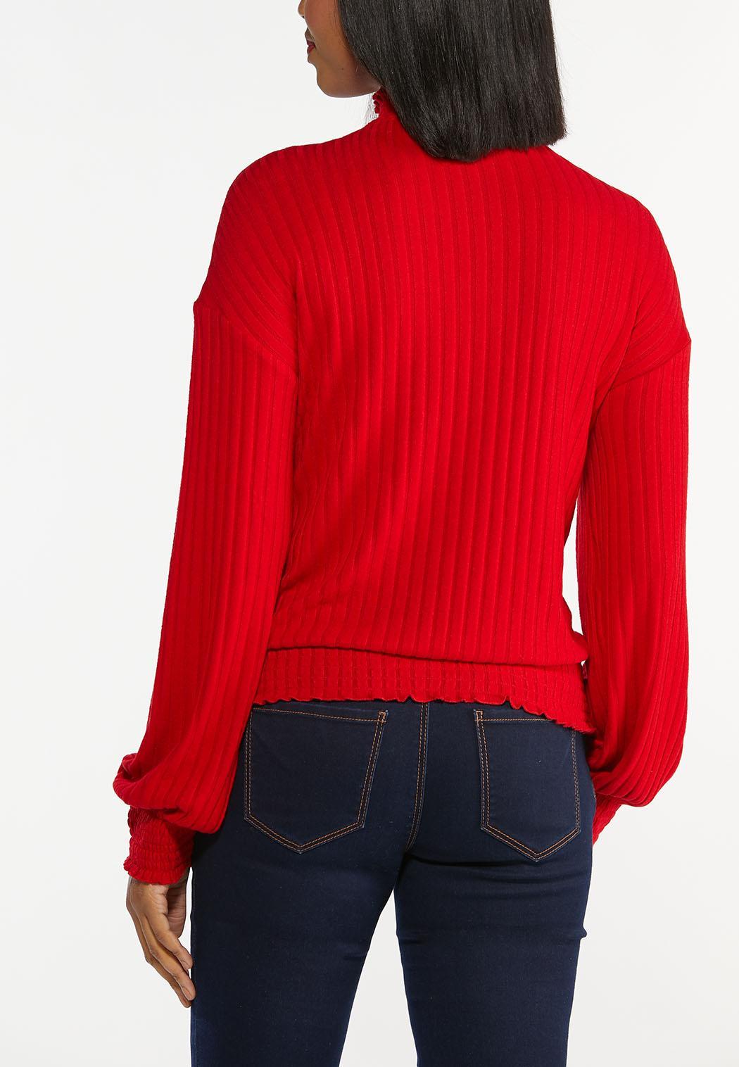 Plus Size Ribbed Mock Neck Top (Item #44405449)