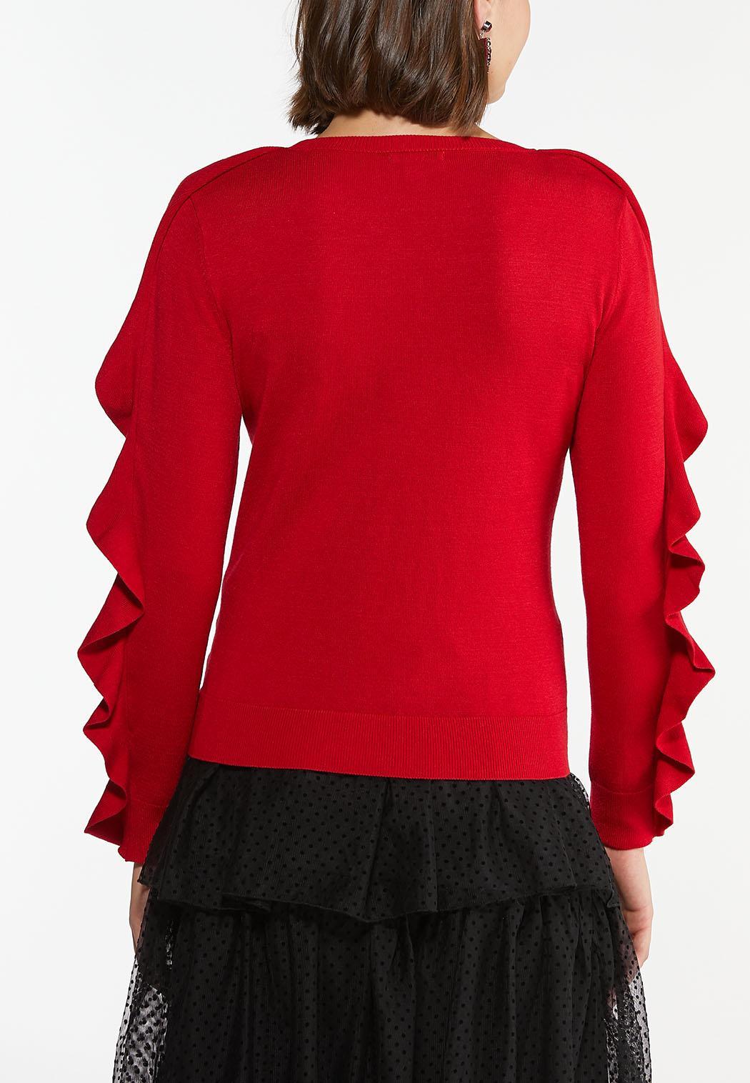 Plus Size Ruffle Sleeve Sweater (Item #44405928)
