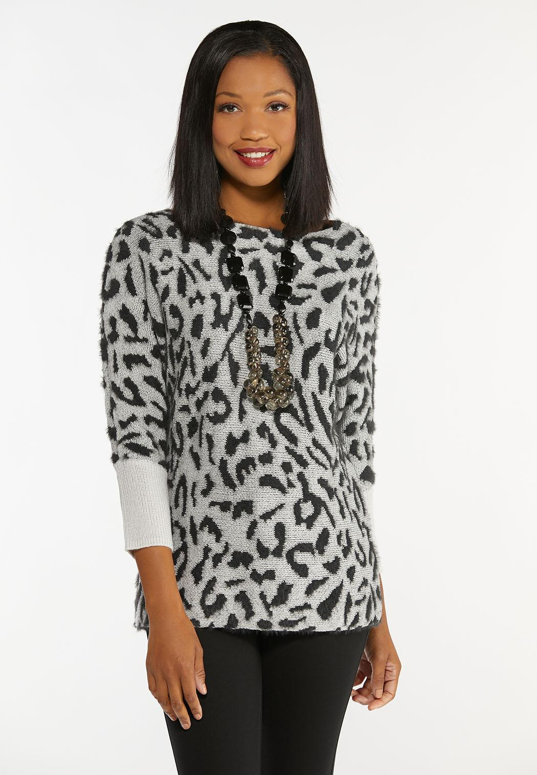 Plus Size Shimmery Leopard Tunic Sweater (Item #44406754)