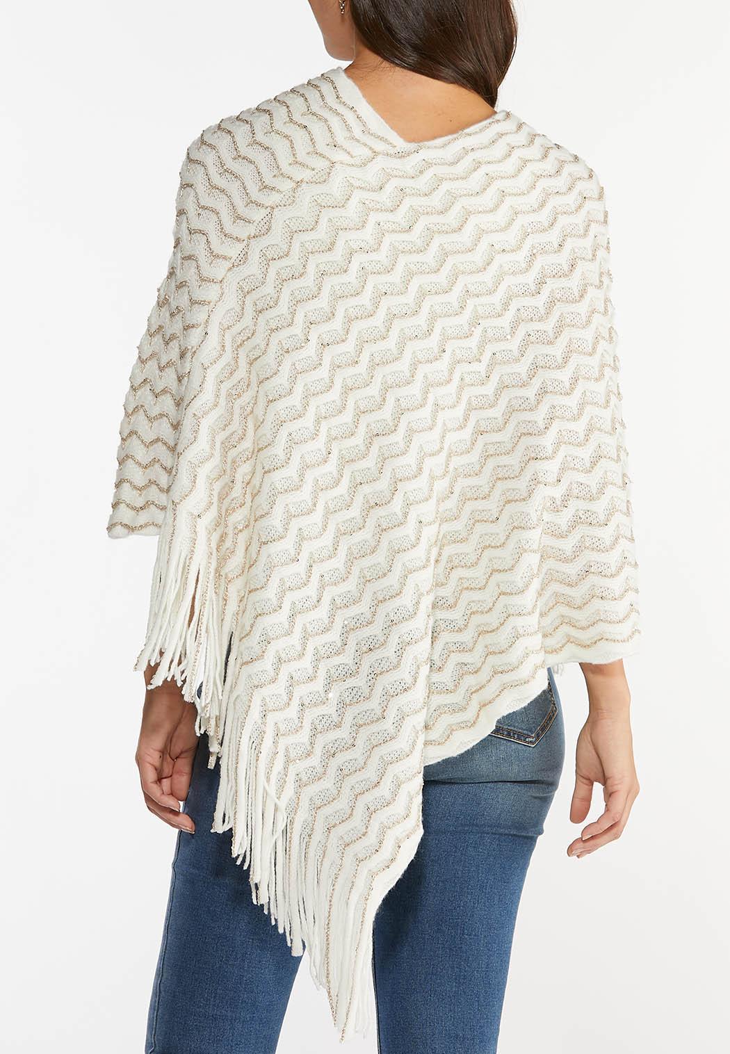 Ivory Sequin Sweater Poncho (Item #44406942)
