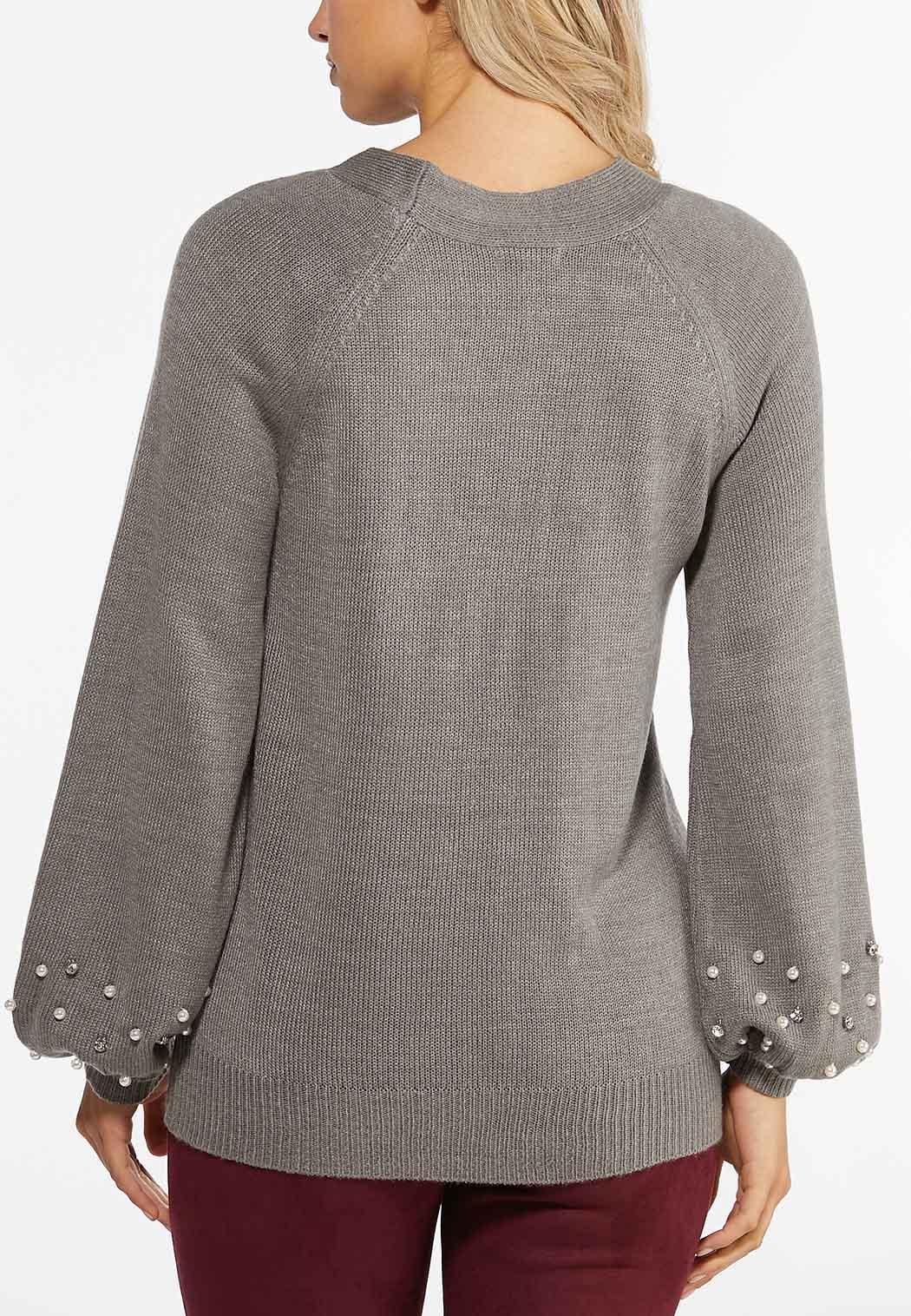 Pearl Trim Balloon Sleeve Sweater (Item #44407678)