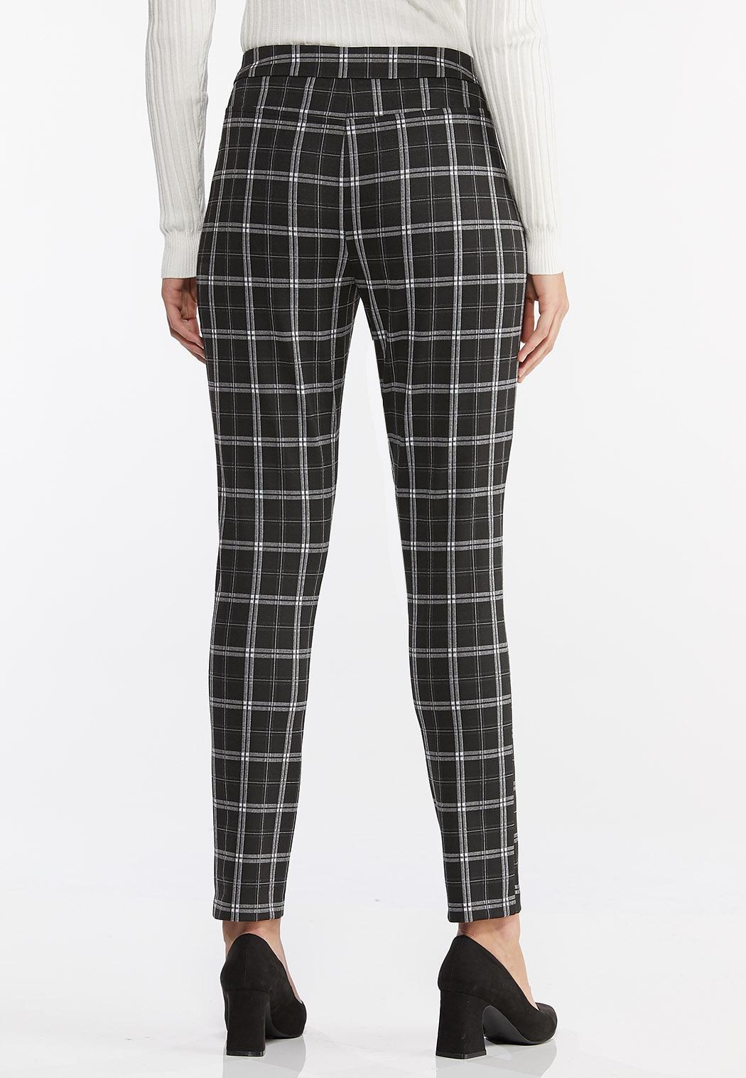 Plaid Faux Leather Trim Pants (Item #44410601)