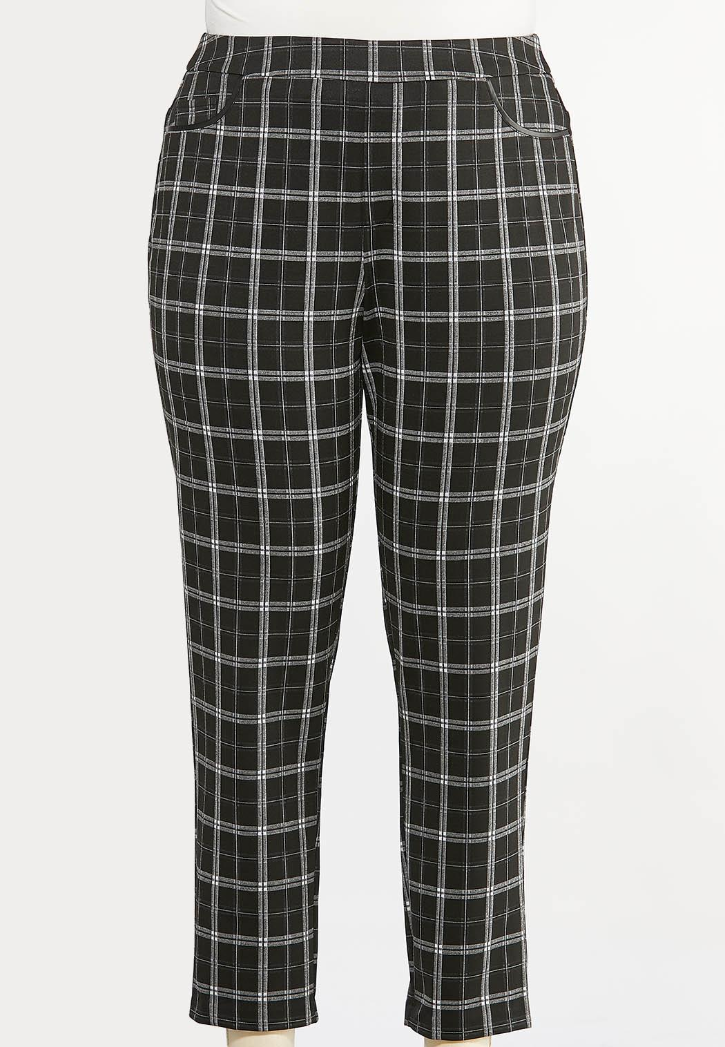 Plus Size Plaid Faux Leather Trim Pants (Item #44410646)