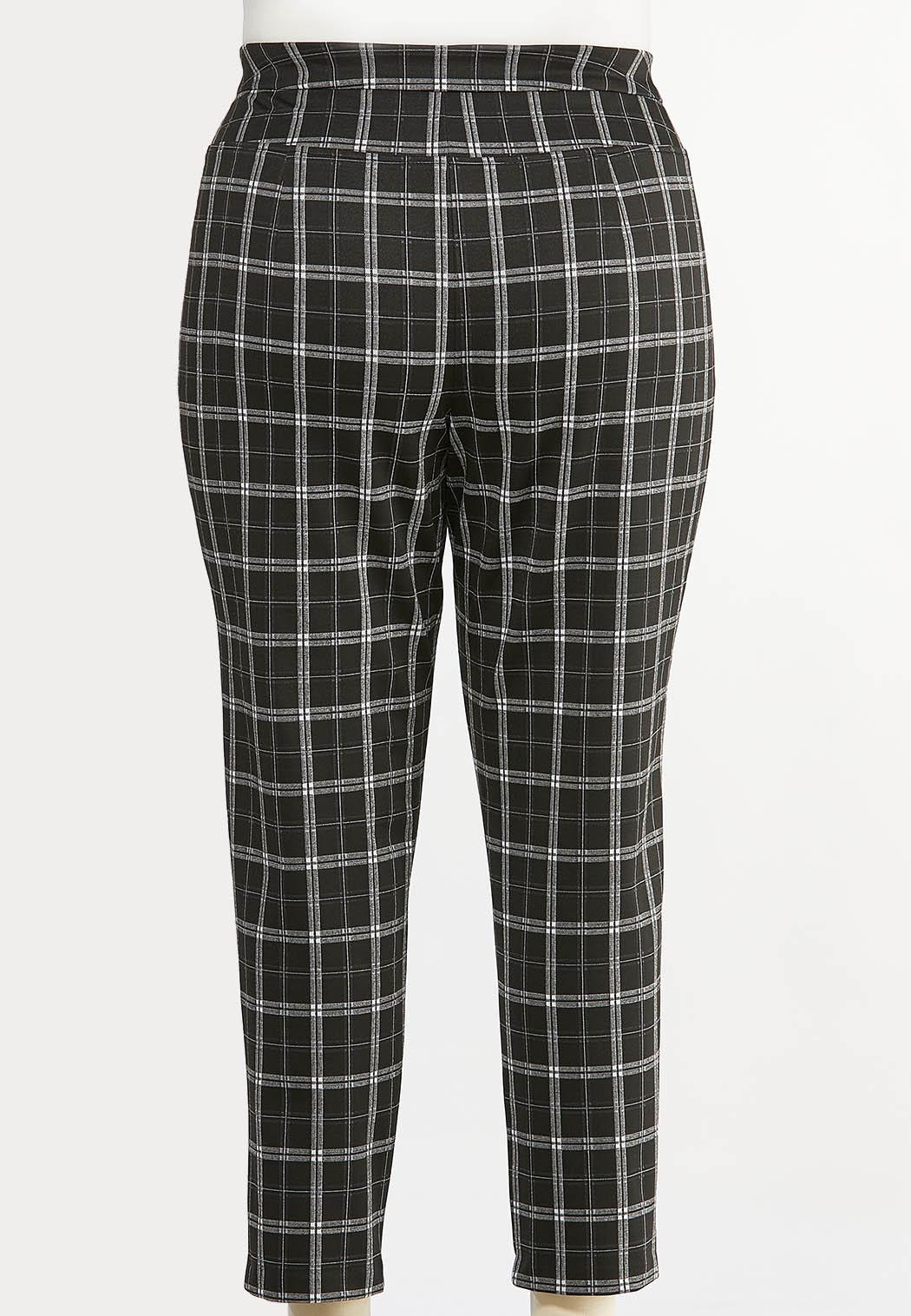 Plus Size Plaid Faux Leather Trim Pants (Item #44410646)