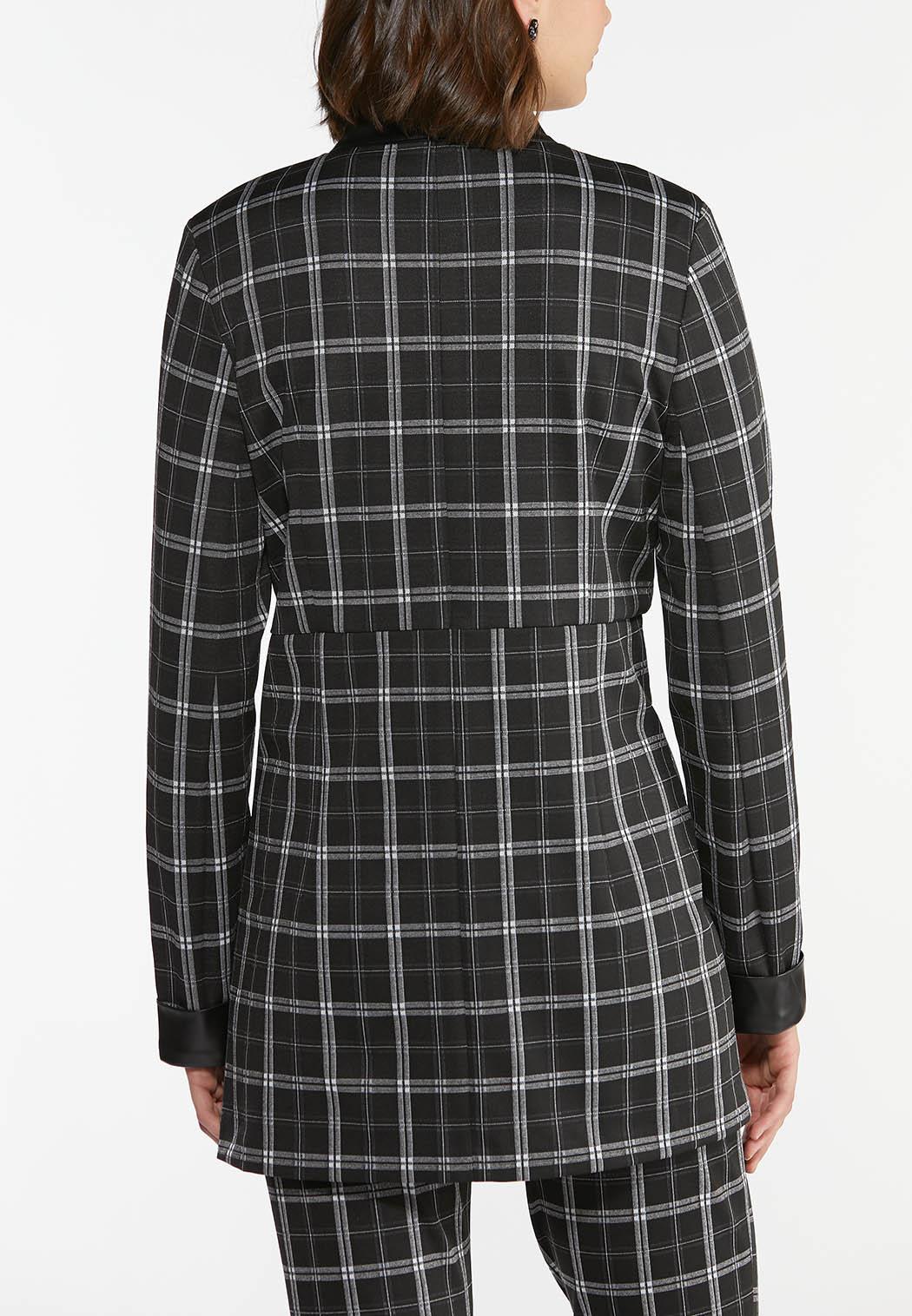 Plaid Faux Leather Trim Jacket (Item #44410703)