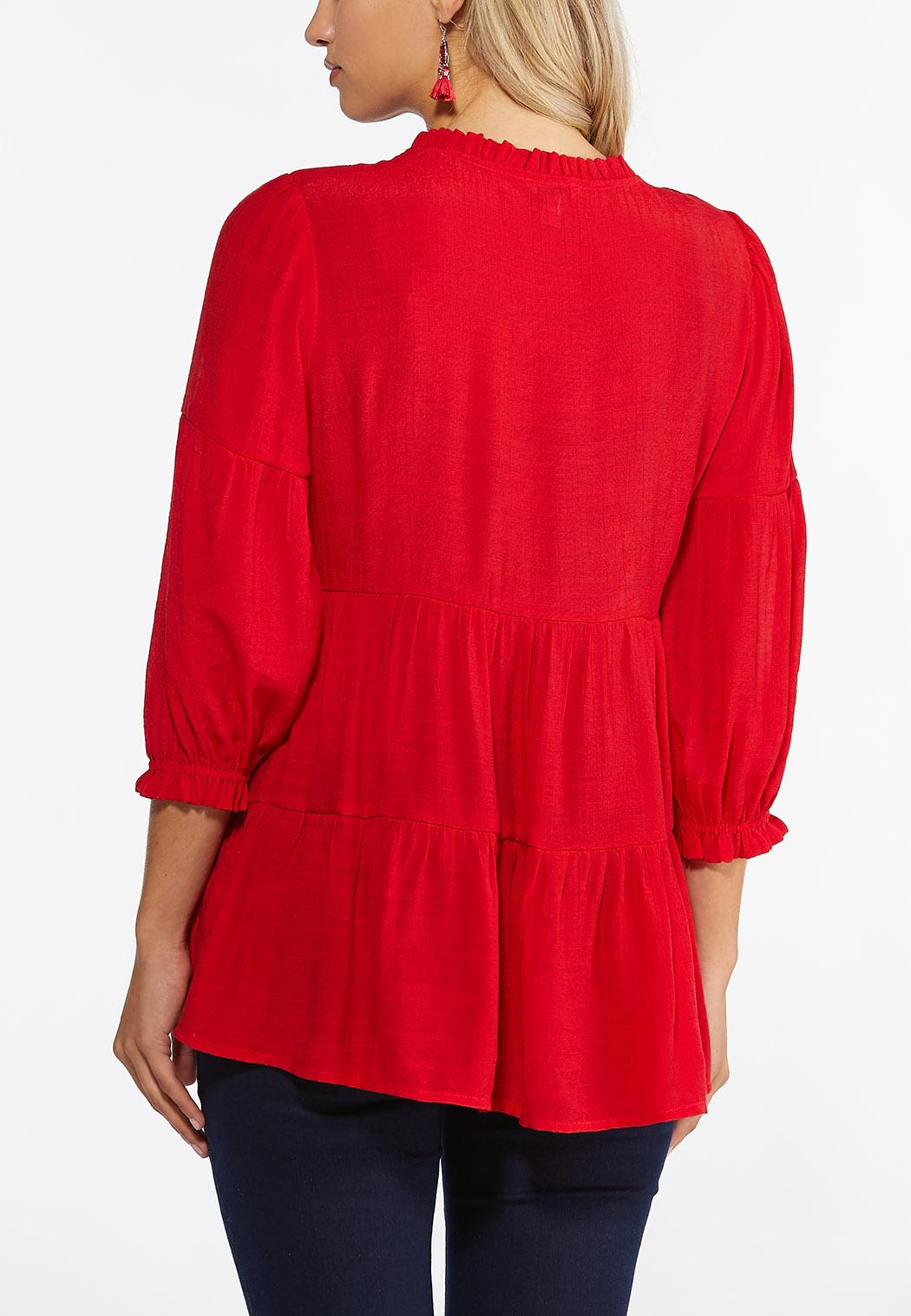 Plus Size Red Tiered Babydoll Top (Item #44411357)