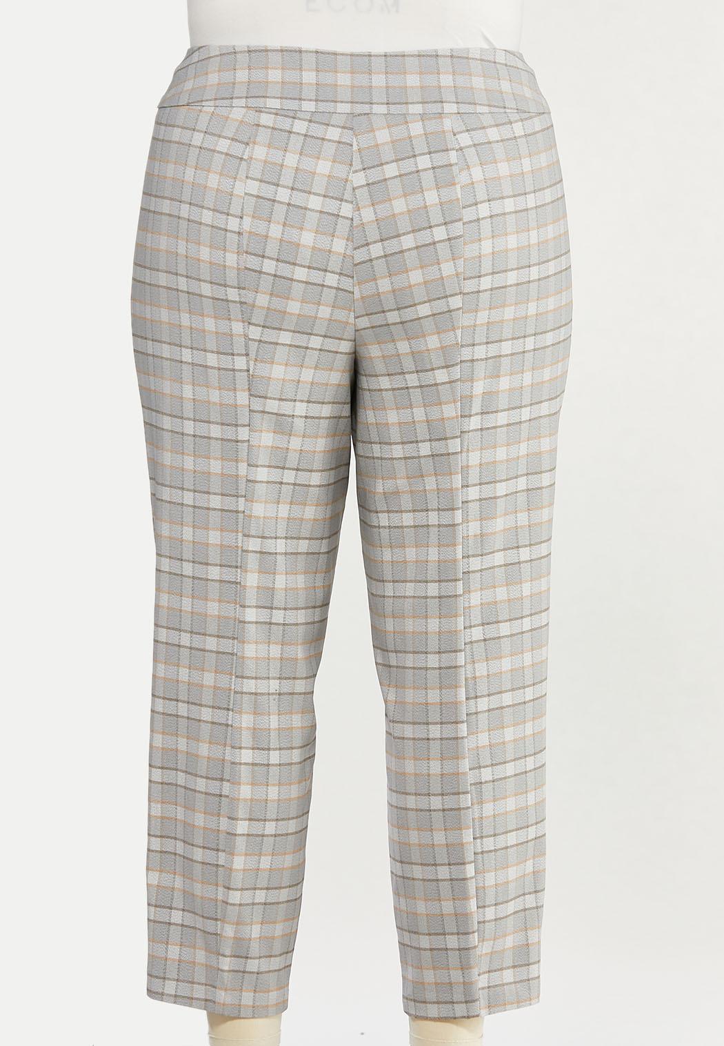 Plus Size Neutral Plaid Slim Ankle Pants (Item #44411669)