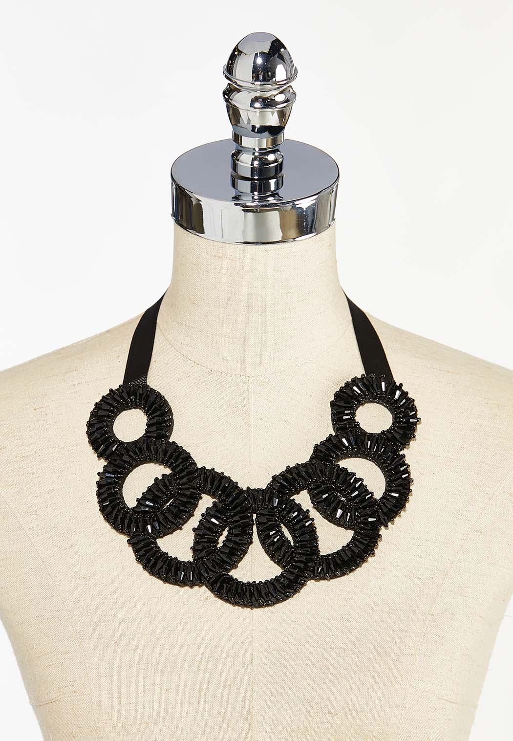 Lobster Clasp Black Bib Necklace  (Item #44412438)