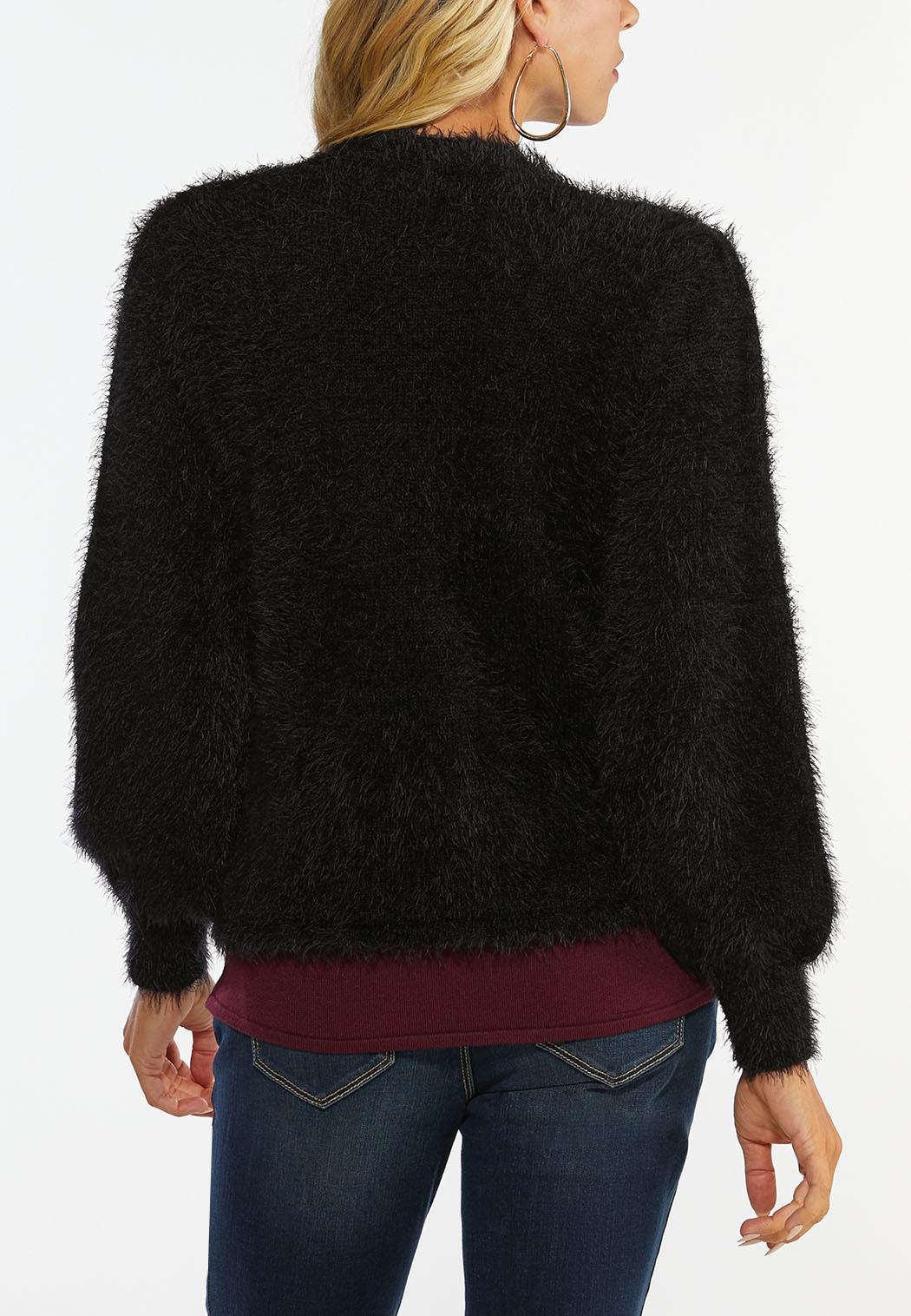 Fuzzy Black Cardigan Sweater (Item #44413138)