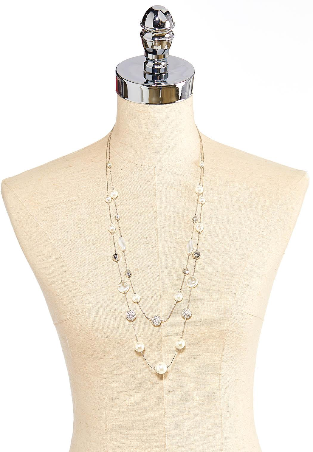 Delicate Layered Pearl Necklace (Item #44413244)