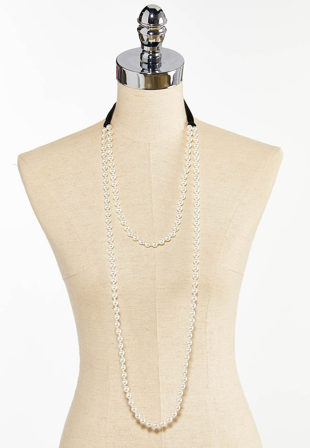 Layered Velvet Pearl Necklace (Item #44413246)