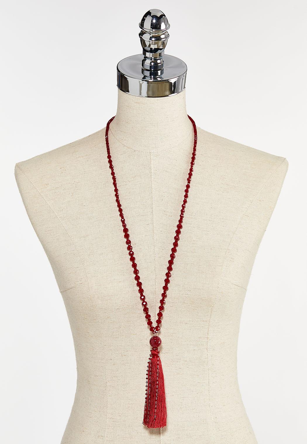 Red Rondelle Tassel Necklace (Item #44413335)